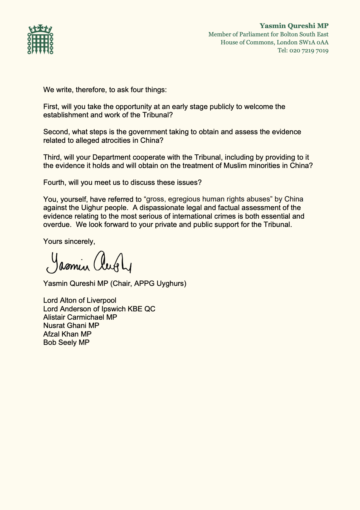 Letter to Dominic Raab re: Uyghurs